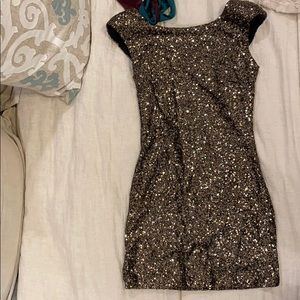 Mink pink sequin mini dress bronze
